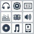 Vector music icons set Royalty Free Stock Photos