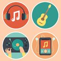 Vector music icons and signs in flat style headphones guitar turntable mp player Stock Photo