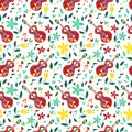 Vector music in nature seamless pattern