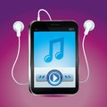 Vector music player with play button touchscreen and bright icon Royalty Free Stock Photo