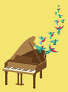 Vector music poster in flat retro style grand piano and flying birds Stock Photos