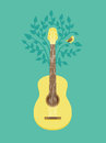Vector music poster in flat retro style guitar and bird on tree Royalty Free Stock Photos
