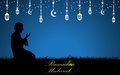 Vector muslim prayer ramadan mubarak concept background
