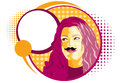 Vector mustache girl circles halftones Stock Images