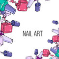 Vector nail lacquer bottles opened on white background beauty border and place for your text Stock Photo
