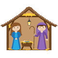 Vector Nativity Manger Stock Photo