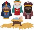 Vector Nativity Three Wise Men Illustration Clip Art Royalty Free Stock Photo