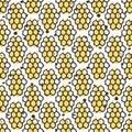 Vector natural honey seamless pattern. Bio hand drawn design.