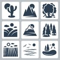 Vector nature icons set Royalty Free Stock Photo
