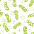 Vector nautical flip flops green seamless pattern Royalty Free Stock Photo