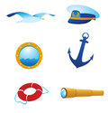 Vector nautical icons and logos Royalty Free Stock Photography