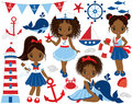 Vector Nautical Set with Cute Little African American Girls Royalty Free Stock Photo