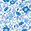Vector navy and denim blue textured spring flowers seamless repeat pattern bacgkround design. Great for springtime