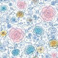 Vector navy and pastels spring flowers seamless repeat pattern bacgkround design. Great for springtime greeting cards