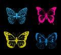 Vector Neon Butterflies