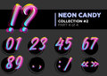 Vector Neon Character Typeset. Glowing Numbers on Dark Royalty Free Stock Photo