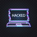 Vector Neon Laptop with Glitched Word Hacked on the Display Icon, Glitch Effect, Isolated Shining Illustration. Royalty Free Stock Photo