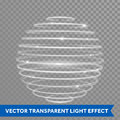 Vector neon light effect spiral globe sphere