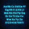 Vector neon style font. Glowing neon alphabet with uppercase and lowercase letters on dark brick wall background.