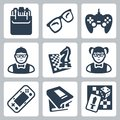 Vector nerd icons set isolated Royalty Free Stock Photography