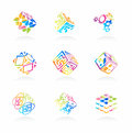 Vector network cube icons set Royalty Free Stock Images