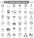 Vector Network technology black icons set. Dark grey classic icon design for web. Royalty Free Stock Photo