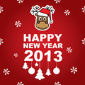Vector New Year banner with reindeer Royalty Free Stock Images