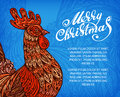 Vector New Year congratulation design. Rooster, cock, cockerel symbol