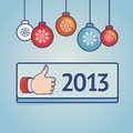 Vector new year greeting card with like sign Royalty Free Stock Image