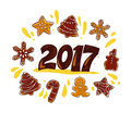 Vector New year and Merry Christmas congratulation design element with hand drawn gingerbread cookie  on white background. Royalty Free Stock Photo