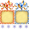Vector New Year 2017 square frame set. Red and blue Royalty Free Stock Photo