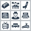 Vector news and journalism icons set Stock Photography