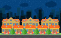 Vector night city with cartoon houses and buildings. City space with road on flat style background concept.