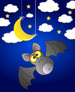 Vector night scennery with bat night sky with clouds moon stars Stock Image