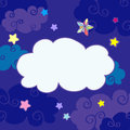 Vector nighttime cartoon clouds frame Royalty Free Stock Photo