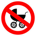 Vector no baby carriage sign isolated white Stock Images
