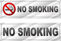 Vector no smoking chrome sign Royalty Free Stock Photo