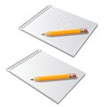 Vector notepad with pencil illustration of the Royalty Free Stock Images