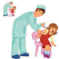 Vector nurse doing an inoculation to a small girl Royalty Free Stock Photo