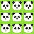 Vector o teste padrão liso sem emenda da panda no fundo verde Imagem de Stock Royalty Free