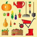 Vector objects and tools for garden. Royalty Free Stock Photo