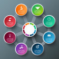 Vector octagon with circles for infographic template cycle diagram graph presentation and round chart business concept Royalty Free Stock Images