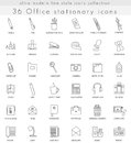 Vector Office Stationery ultra modern outline line icons for web and apps. Royalty Free Stock Photo