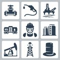 Vector oil industry icons set isolated Stock Image