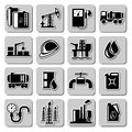 Vector oil industry icons on white backgrounds Royalty Free Stock Images