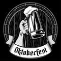Vector Oktoberfest Beer Glass Mug Barrel Foam Enrgaving Black Gray Royalty Free Stock Photo