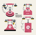 Vector old-fashioned telephone Stock Images