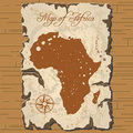 Vector old parchament. Map of Africa. Royalty Free Stock Photo