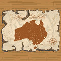 Vector old parchament. Map of Australia. Royalty Free Stock Photo