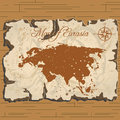 Vector old parchament. Map of Eurasia. Royalty Free Stock Photo